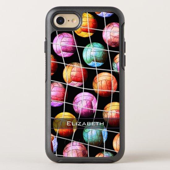 Girls' pop art multicolor volleyballs OtterBox symmetry iPhone SE/8/7 case