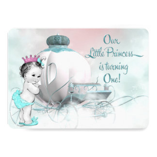 Girls Princess 1st Birthday Party 5x7 Paper Invitation Card