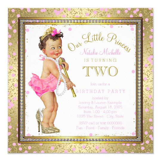 Girls Princess 2nd Birthday Party Pink Gold Invitation
