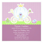 "Girl's princess birthday party carriage invitation 5.25"" square invitation card"