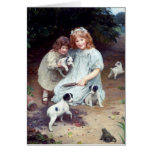 girls puppies toad dogs children sisters greeting cards