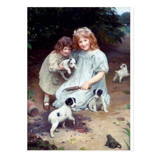 girls puppies toad dogs children sisters post cards
