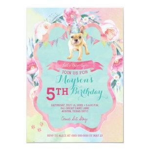 Girls Puppy Dog Birthday Party Invitations