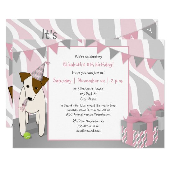 girl's puppy dog themed pink gray birthday party invitation