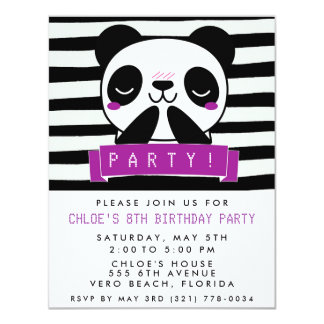 Girl's Purple and Black Cute Panda Birthday Party Card