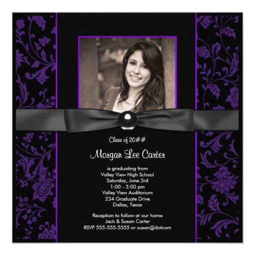 Girls Purple and Black Photo Graduation Announcements