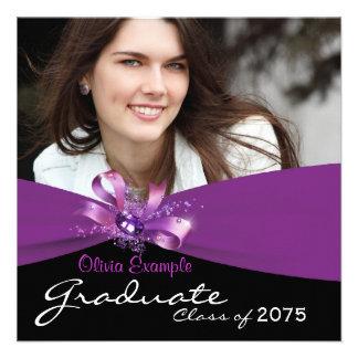 Girls Purple and Black Photo Graduation Invites