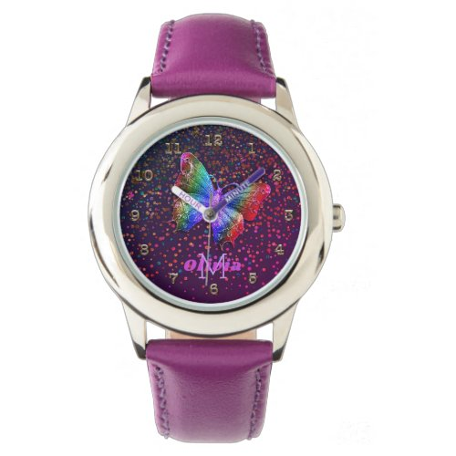 Girls Purple Butterfly Glitter Personalized Name Watch