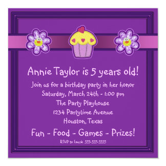 Girls Purple Cupcake Birthday Party Card