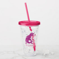 Girls Purple Dinosaur Watercolor Silhouette Cute Acrylic Tumbler