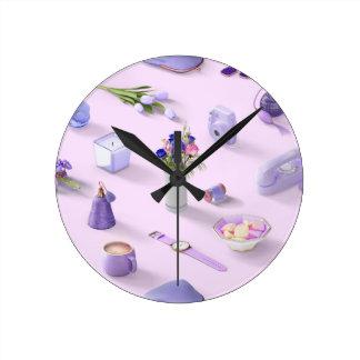 Girl's Purple Dream Round Clock