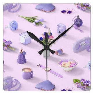 Girl's Purple Dream Square Wall Clock