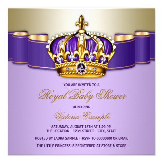 Girls Purple Gold Royal Baby Shower Card