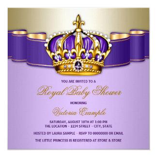 Girls Purple Gold Royal Baby Shower Card