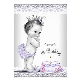 Girls Purple Gray 1st Birthday Party Card