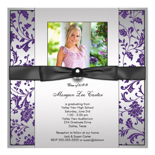 Girls Purple Photo Graduation Announcement