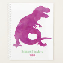 Girls Purple Pink Dinosaur Watercolor T-Rex Kids Planner