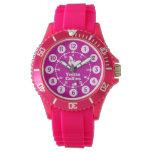 Girls purple, pink, white full name wrist watch