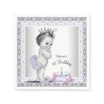 Girls Purple Princess 1st Birthday Paper Napkin