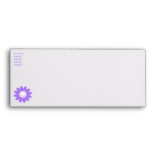 Girls' Purple Smiley Flower - No.10 Envelope