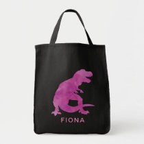 Girls Purple Watercolor Dinosaur Personalized Tote Bag