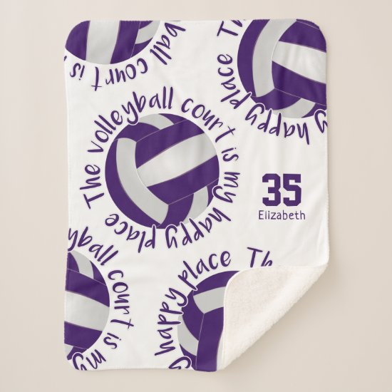 girls purple white volleyball court happy place sherpa blanket
