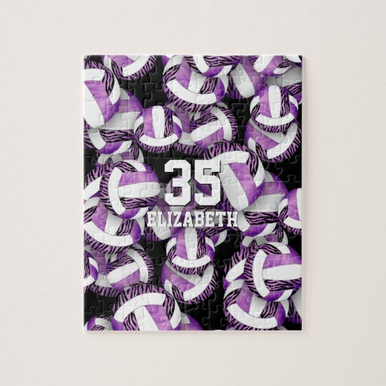 Girls purple with zebra stripes volleyballs jigsaw puzzle