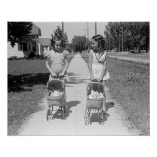 Girls Pushing Baby Buggies, 1941 Posters