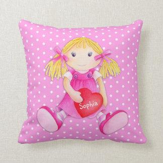 Girls rag doll dolly name flower polka dot pillow