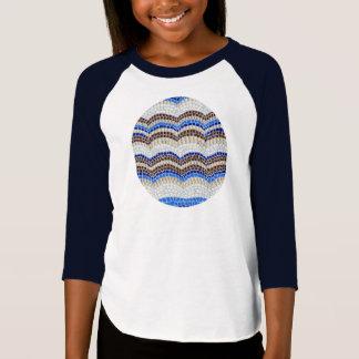 Girls' raglan T-shirt with blue mosaic
