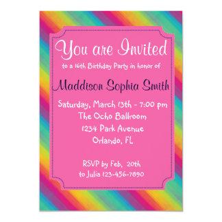 Girls Rainbow Birthday Invitations