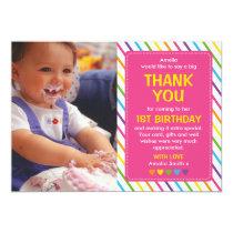 Girls rainbow birthday thank you card