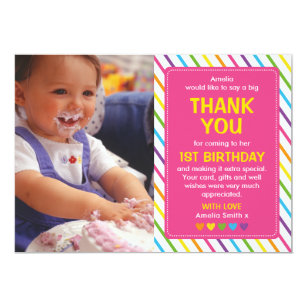 1st birthday thank you cards greeting photo cards zazzle girls rainbow birthday thank you card bookmarktalkfo Gallery