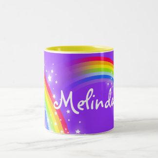 Girls rainbow custom name purple mug Two-Tone mug