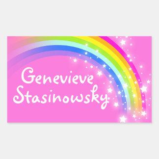 Girls rainbow name pink id label sticker