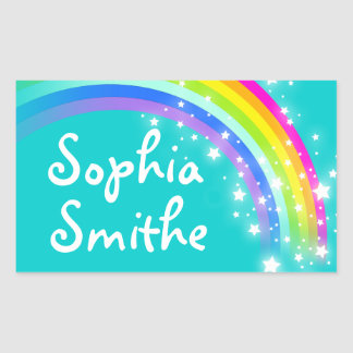 Girls rainbow name teal id label sticker