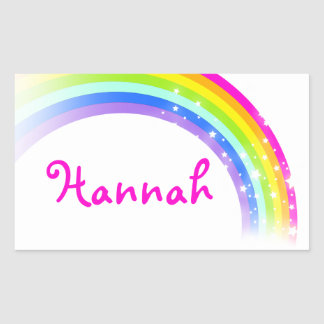 Girls rainbow name white pink id label sticker