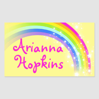 Girls rainbow name yellow & pink id label sticker