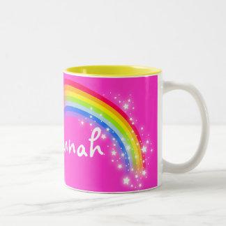 Girls rainbow pink custom name mug Two-Tone mug