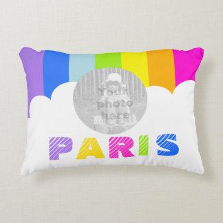 girls rainbow stripe photo name Paris pillow