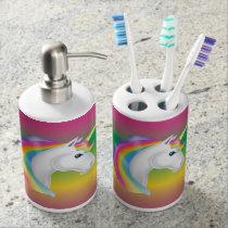 Girls Rainbow Unicorn Bathroom Set