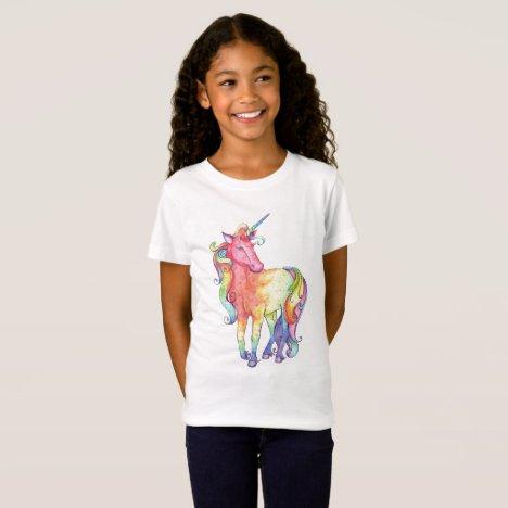 Girls Rainbow Unicorn T-shirt