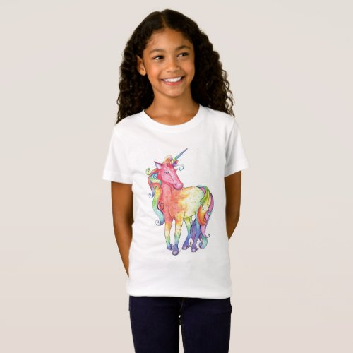 Girls Rainbow Unicorn T_shirt