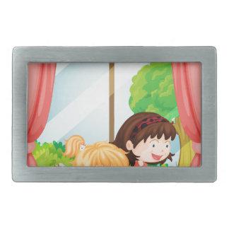 Girls reading book rectangular belt buckle