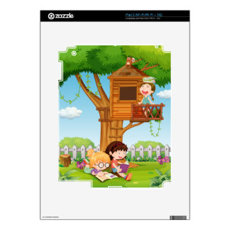 Girls reading books in the garden decals for iPad 2