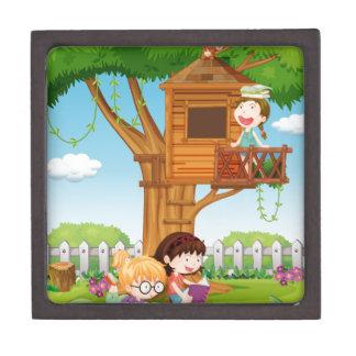 Girls reading books in the garden gift box