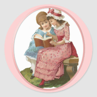 Girls Reading Classic Round Sticker