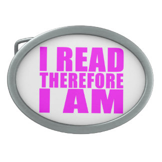 Girls Reading : I Read Therefore I Am Oval Belt Buckle