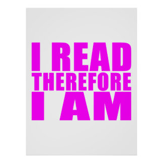 Girls Reading I Read Therefore I Am Poster