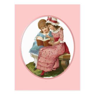 Girls Reading Postcard